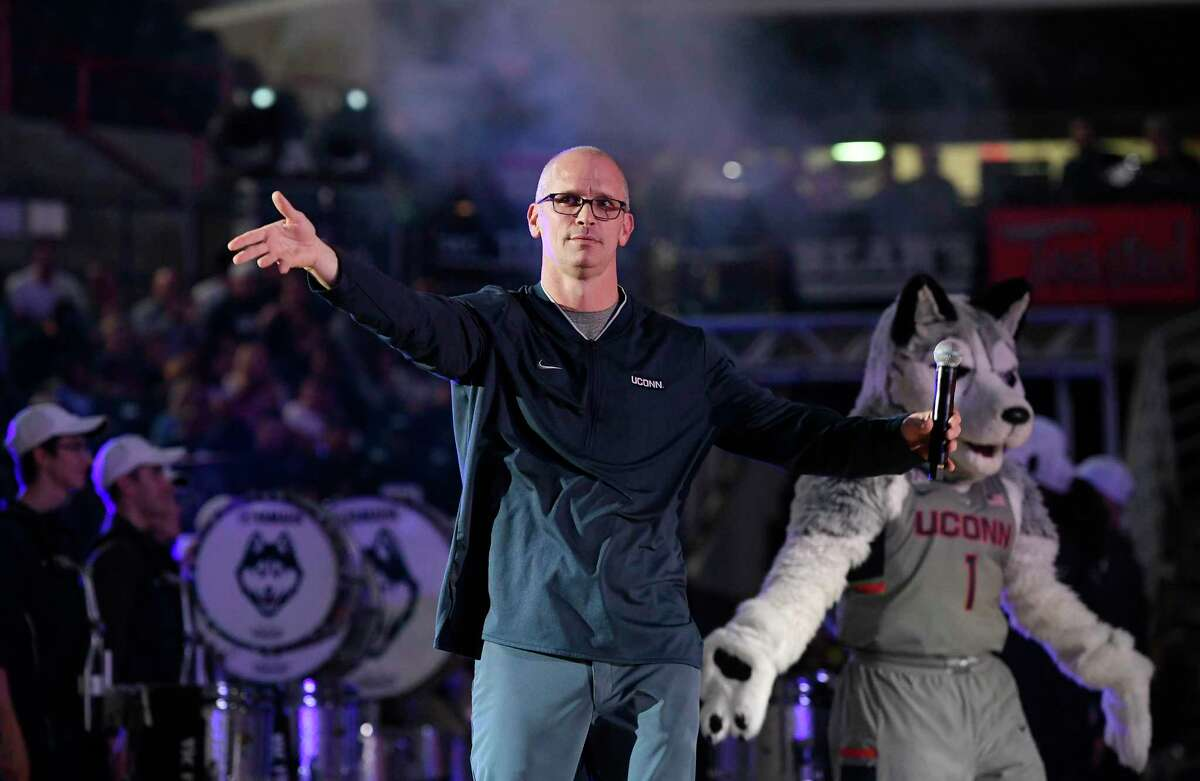 Connecticut men's head coach Dan Hurley is introduced during the UConn's men's and women's basketball teams annual First Night celebration in 2018.