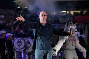 Connecticut men's head coach Dan Hurley is introduced during the UConn's men's and women's basketball teams annual First Night celebration, in Storrs, Conn., Friday, Oct. 12, 2018. (AP Photo/Jessica Hill)