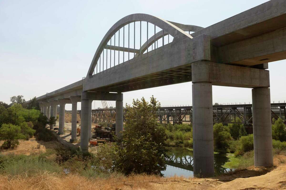 A completed section of the Central Valley segment of California's high-speed rail project in Fresno. State legislators finished their session without approving the bonds needed to complete the project.