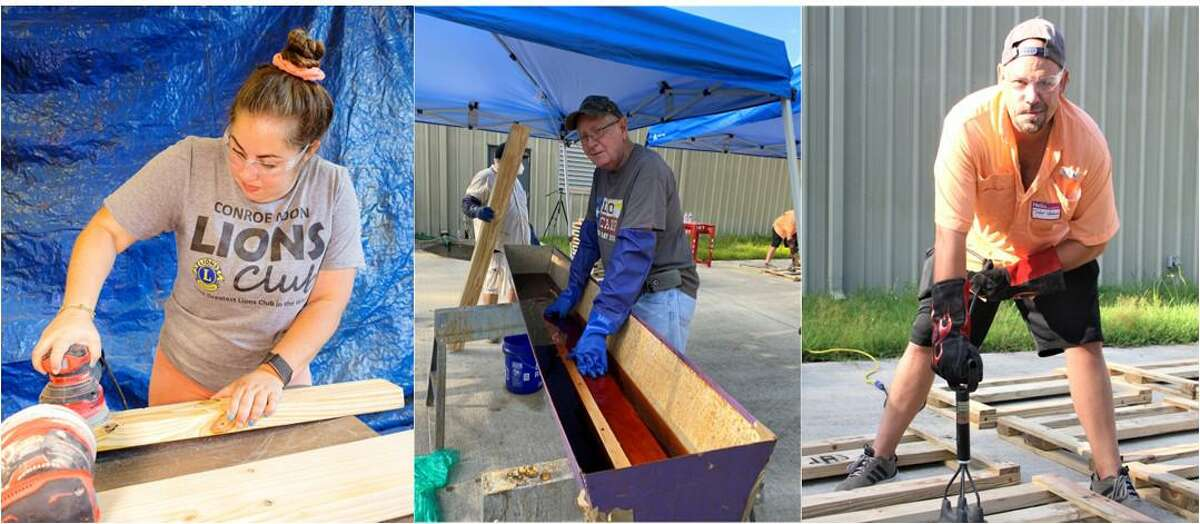 Sanding, Sealing, and Stamping - Members of the Conroe Noon Lions Club chose to help the Sleep in Heaven Peace organization with a building project to provide beds for children in need as their Service Saturday project on Sept. 18. Pictured left to right are Lions Sara McClure, Bob Gunter, Taylor Whichard.