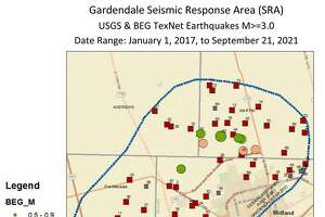 The Texas Railroad Commission has published a map of recorded earthquakes and disposal wells in the Gardendale SRA, as well as the names of the operators of 76 permitted wells in that area. The map, which uses data from January 2017 to Sept. 21 of this year, shows that earthquakes are occurring primarily north of Midland and between Midland and Odessa where there are active disposal wells