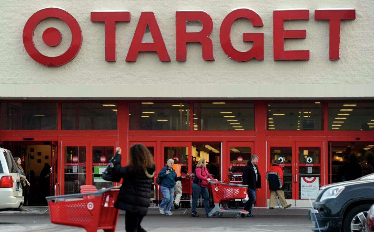 Shoppers outside Target in Bethel, Conn.