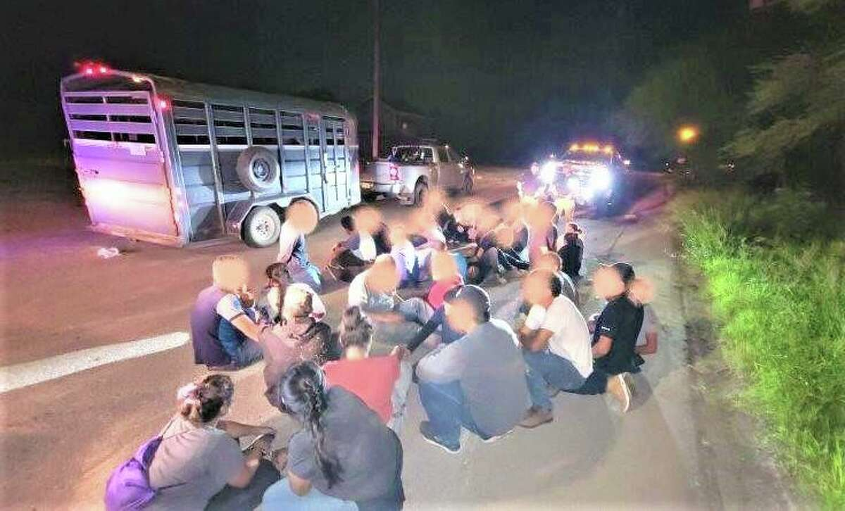 U.S. Border Patrol agents said they discovered 32 individuals inside a horse trailer and on the bed of a pickup. All were determined to be migrants who had crossed the border illegally.