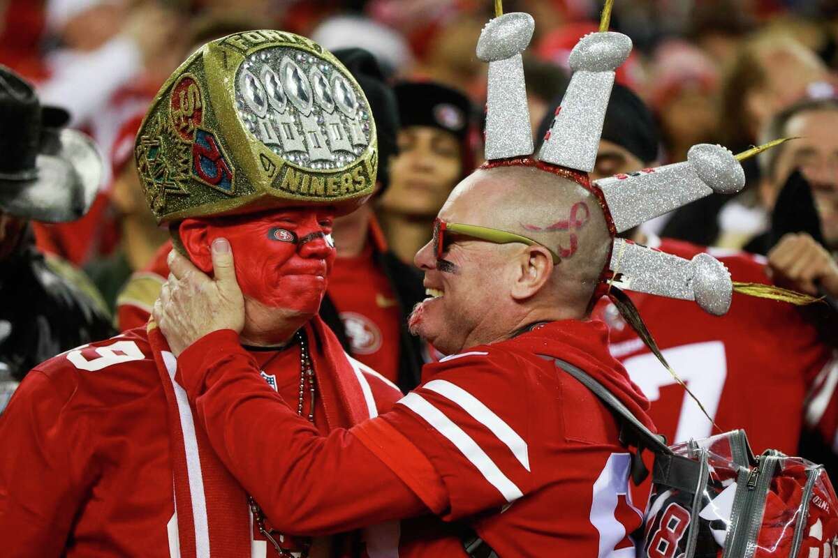 Fans Mark Castanon and Vic Claveau (right) gets emotional during the final moments of the NFC Championship game between the San Francisco 49ers and the Green Bay Packers at Levi?•s Stadium on Sunday, Jan. 19, 2020 in Santa Clara, California. The San Francisco 49ers defeated the Green Bay Packers 37-20.