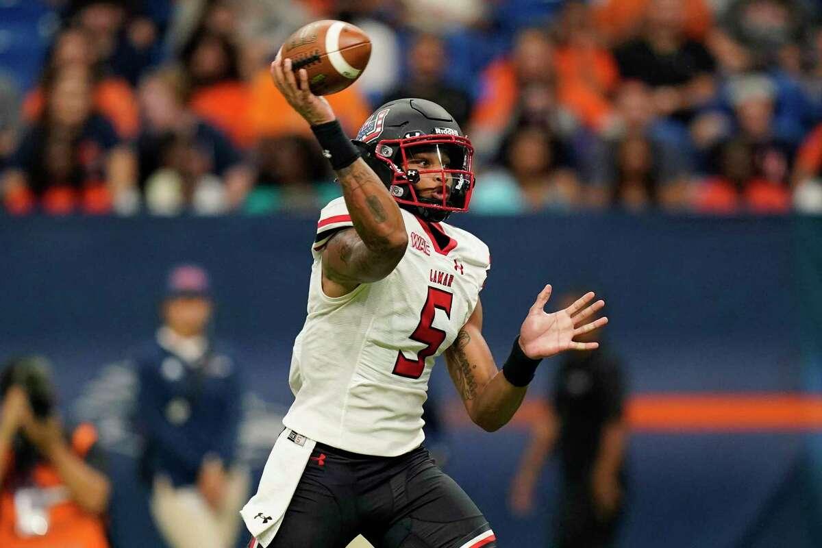 Lamar quarterback Jalen Dummett (5) throws against UTSA during the first half of an NCAA college football game, Saturday, Sept. 11, 2021, in San Antonio. (AP Photo/Eric Gay)