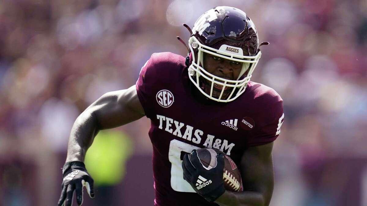Texas A&M running back Devon Achane has had scant few decent holes to run through so far.