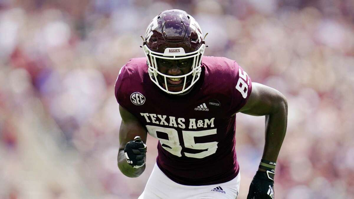 Texas A&M tight end Jalen Wydermyer (85) runs a route against New Mexico during the second half of an NCAA college football game on Saturday, Sept. 18, 2021, in College Station, Texas. (AP Photo/Sam Craft)