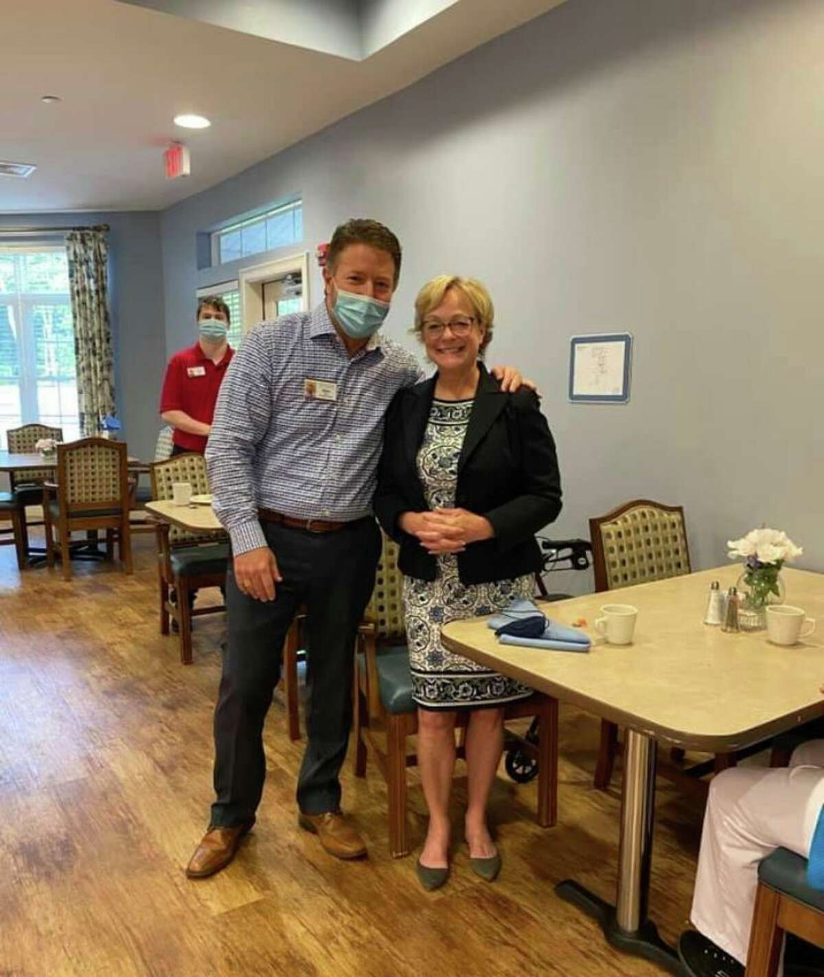 Keystone Place at Newbury Brook in Torrington celebrated Assisted Living Week Sept. 13 with a breakfast for first responders. Pictured is Maor Elinor Carbone with Keystone Place's Executive Director, Allen Miloff.