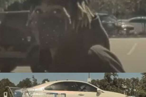 Above, an image from the a video released by the Montgomery County Sheriff's Office shows the alleged perpetrator from an armed robbery at a Walmart in Spring. Below, image from the same video shows the vehicle the alleged armed robber fled in.