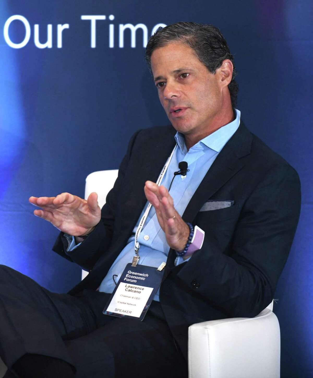 iCapital Network CEO and Chairman Lawrence Calcano speaks during a panel discussion at the Greenwich Economic Forum at the Delamar hotel in Greenwich, Conn., on Tuesday, Sept. 21, 2021.