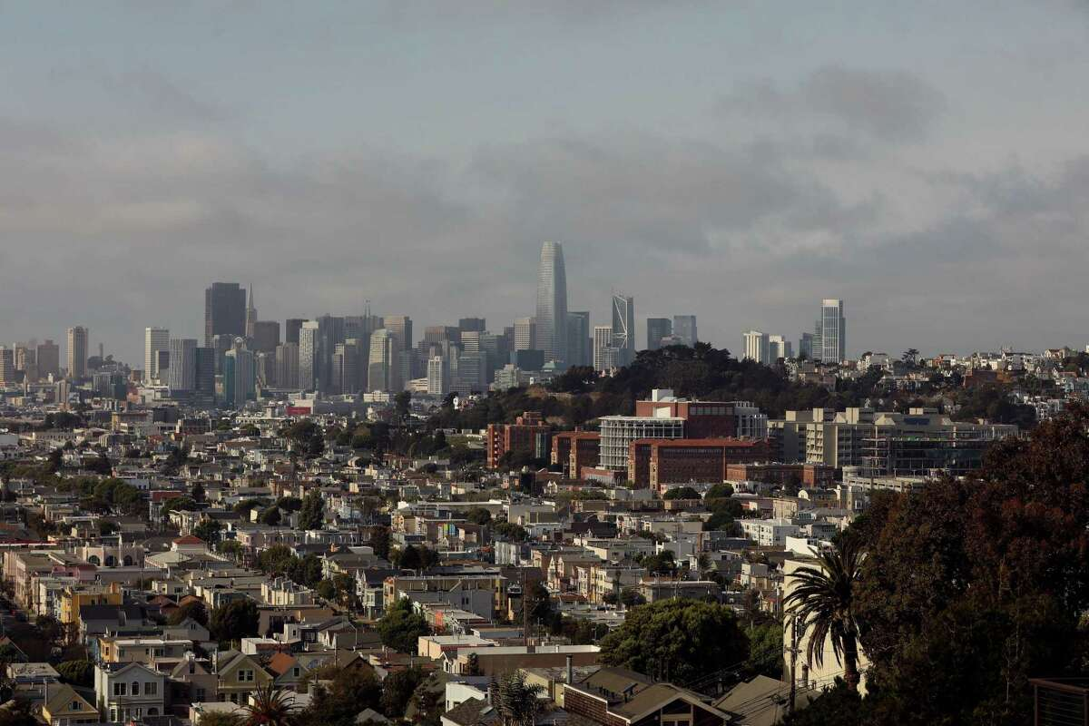 The San Francisco skyline seen from Bernal Heights Park on Saturday, August 21, 2021. Some areas of the city are lagging in COVID-19 vaccinations, with less than half their inhabitants having gotten the shot.