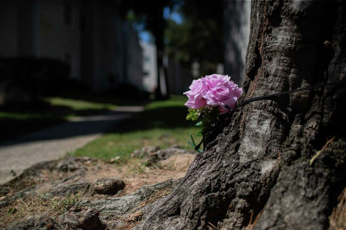 Flowers have been place at the murder scene on 910 Apartment Homes, Friday, Sept. 24, 2021, in Spring. The murder took place on Thursday morning and it's believe to have been related to domestic abuse.