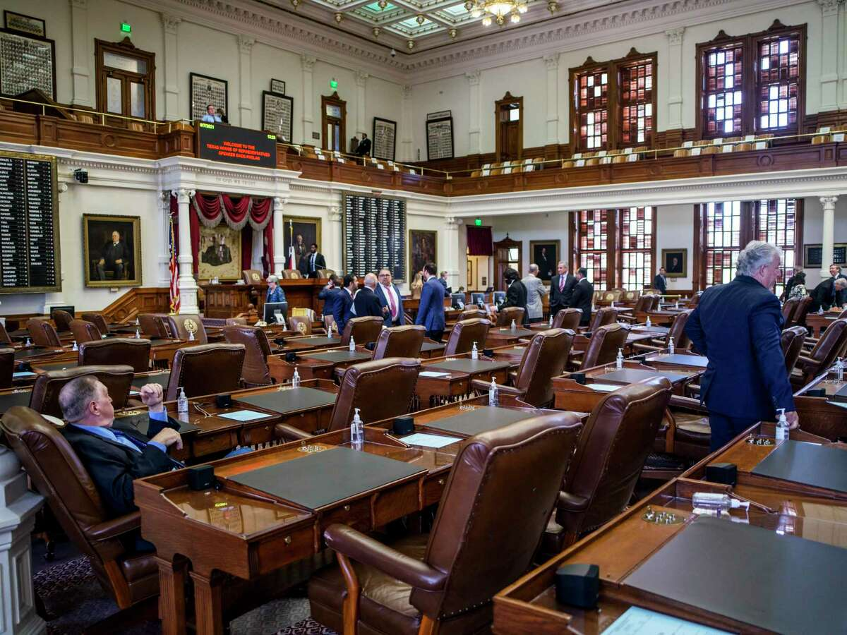 The Texas House of Representatives opens the second special session called by Governor Greg Abbott on Saturday, August 7, 2021 in Austin, Tx., U.S. The Texas House of Representatives did not have a quorum due to a number of Texas House Democrats being absent and adjourned quickly after opening the session on Saturday afternoon.