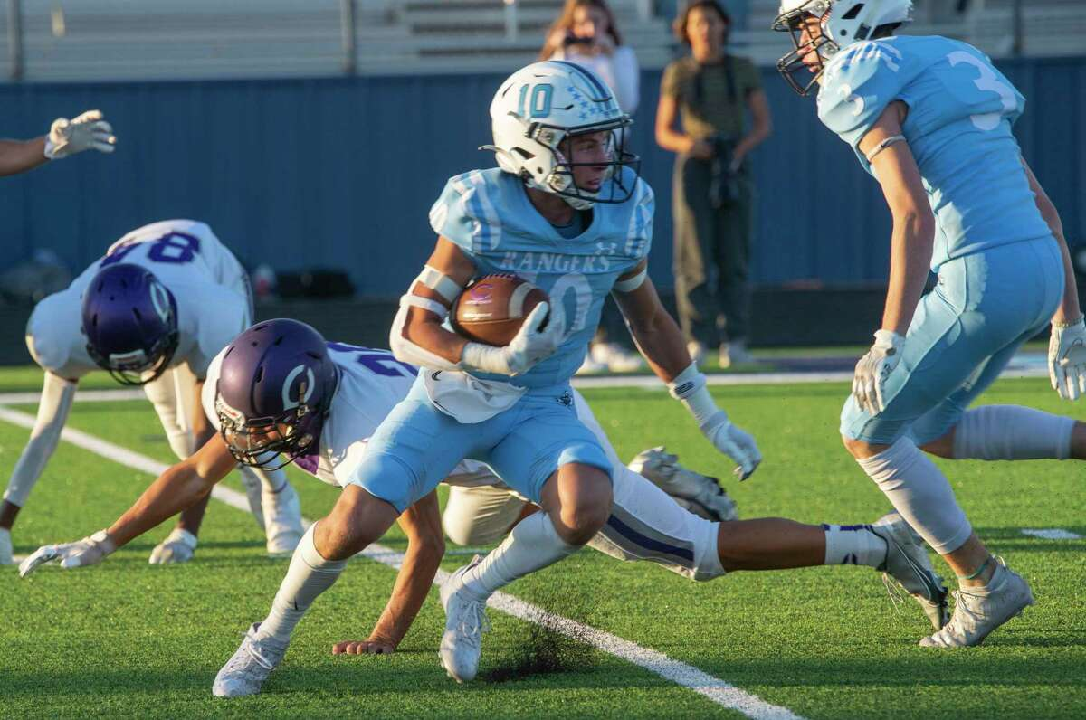 Greenwood's Rance Purser looks for more yards on a kickoff return against Canyon 09/24/2021 at J.M. King Memorial Stadium. Tim Fischer/Reporter-Telegram