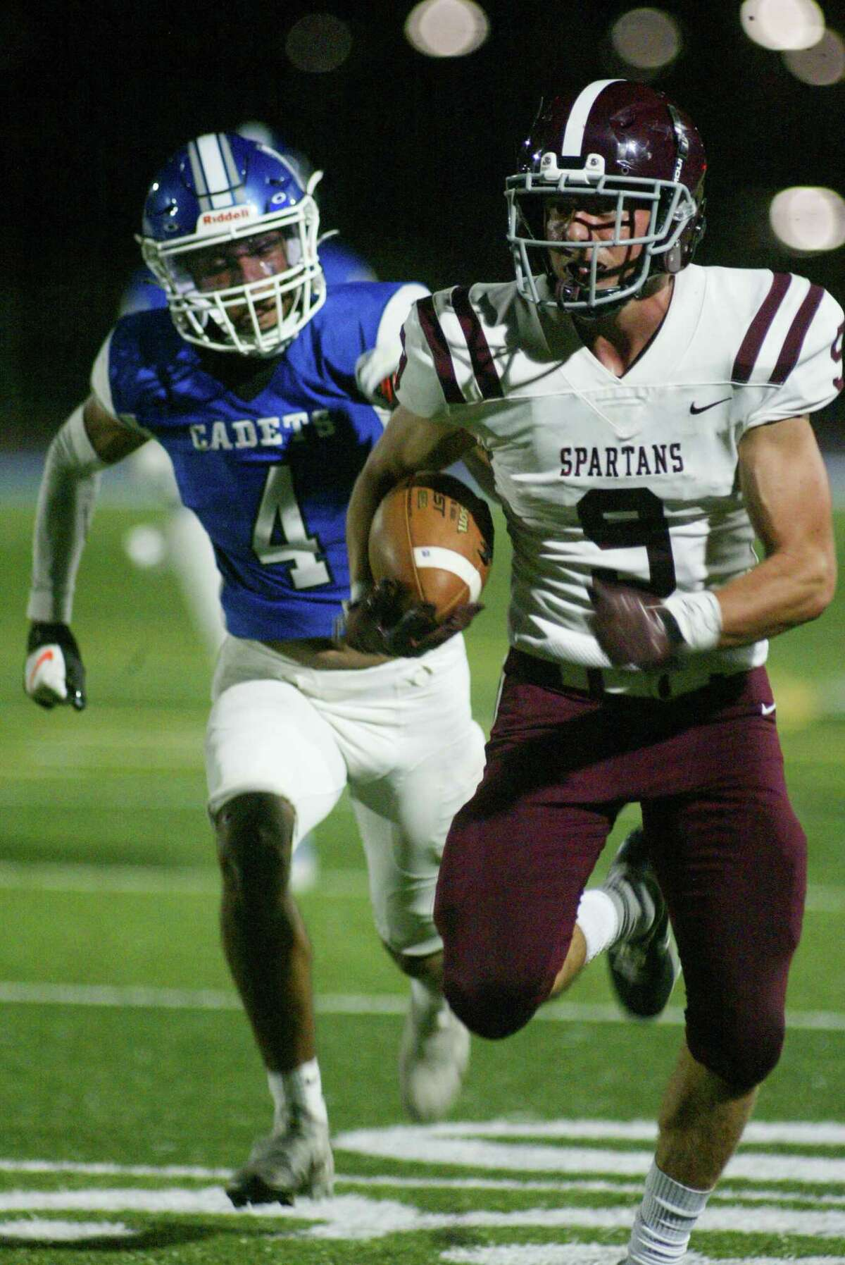 Burnt Hill receiver Rocco Mareno races for a second-half touchdown as Damani Canty of La Salle races to catch up during Burnt Hills' 24-21 victory over La Salle in Troy on Sept. 24, 2021. (Jon Winslow / Special to the Times Union)