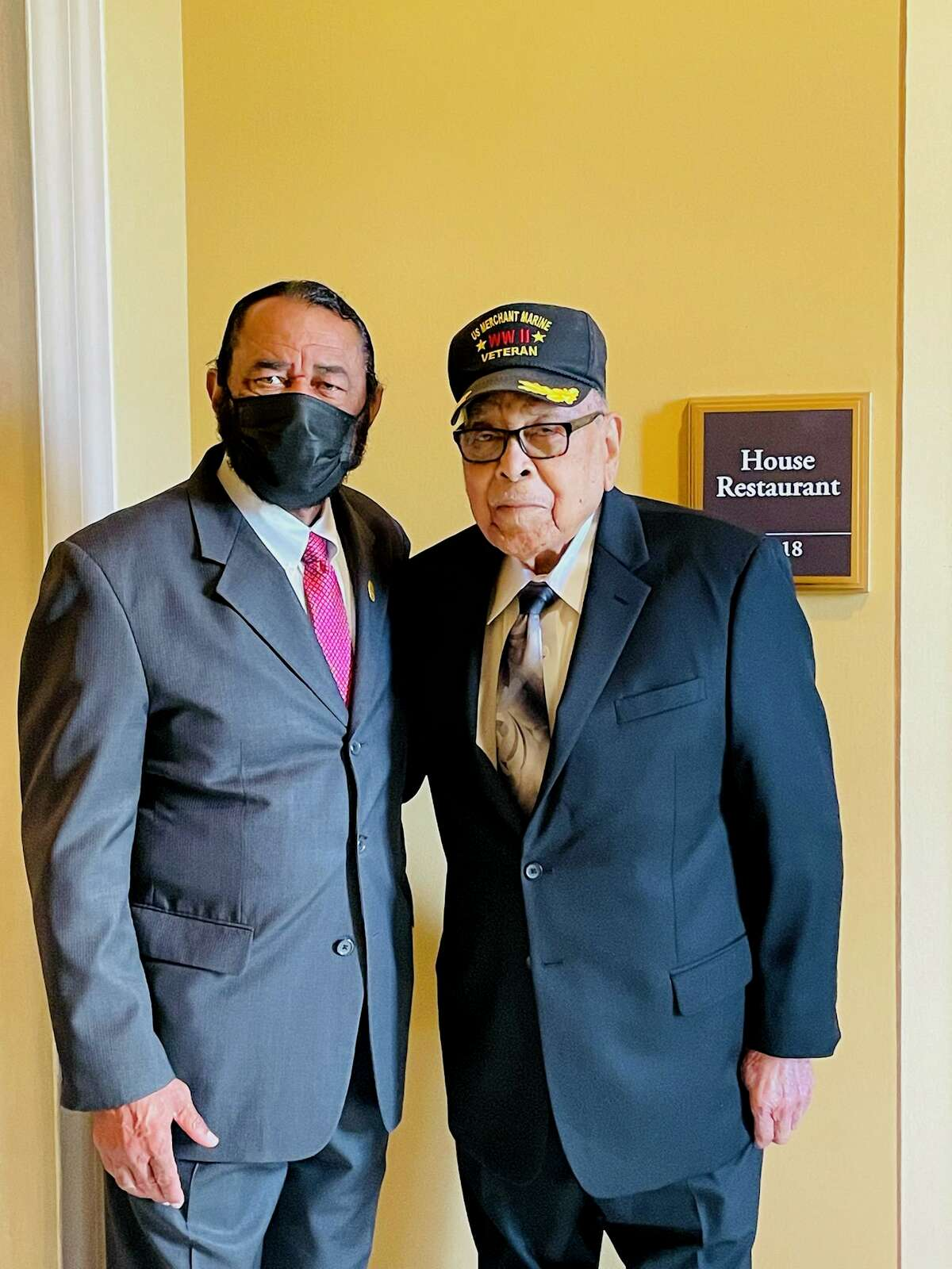 Congressman Al Green (D-Texas) and Charles Mills in Washington, D.C. Mills traveled to Washington at the behest of Green in order to garner support for U.S. Merchant Marines who served in World War II