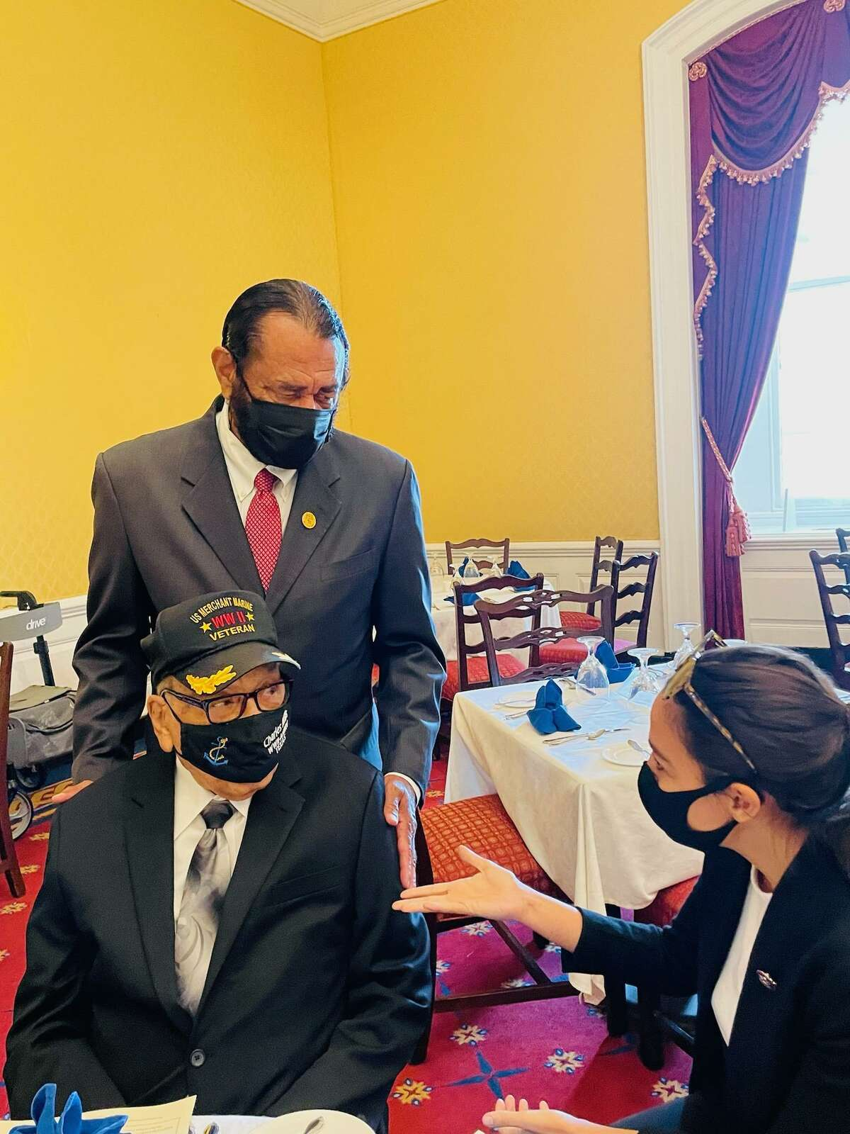 Rep. Al Green (D-Texas) and Charles Mills meet with Rep. Alexandria Ocasio-Cortez (D-New York) in Washington, D.C.