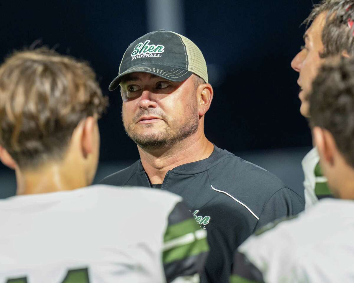 Shenendehowa coach Brian Clawson talks to his team during a Class AA matchup against Shaker at Shenendehowa High School in Clifton Park, NY, on Friday, Sept. 24, 2021. (Jim Franco/Special to the Times Union)
