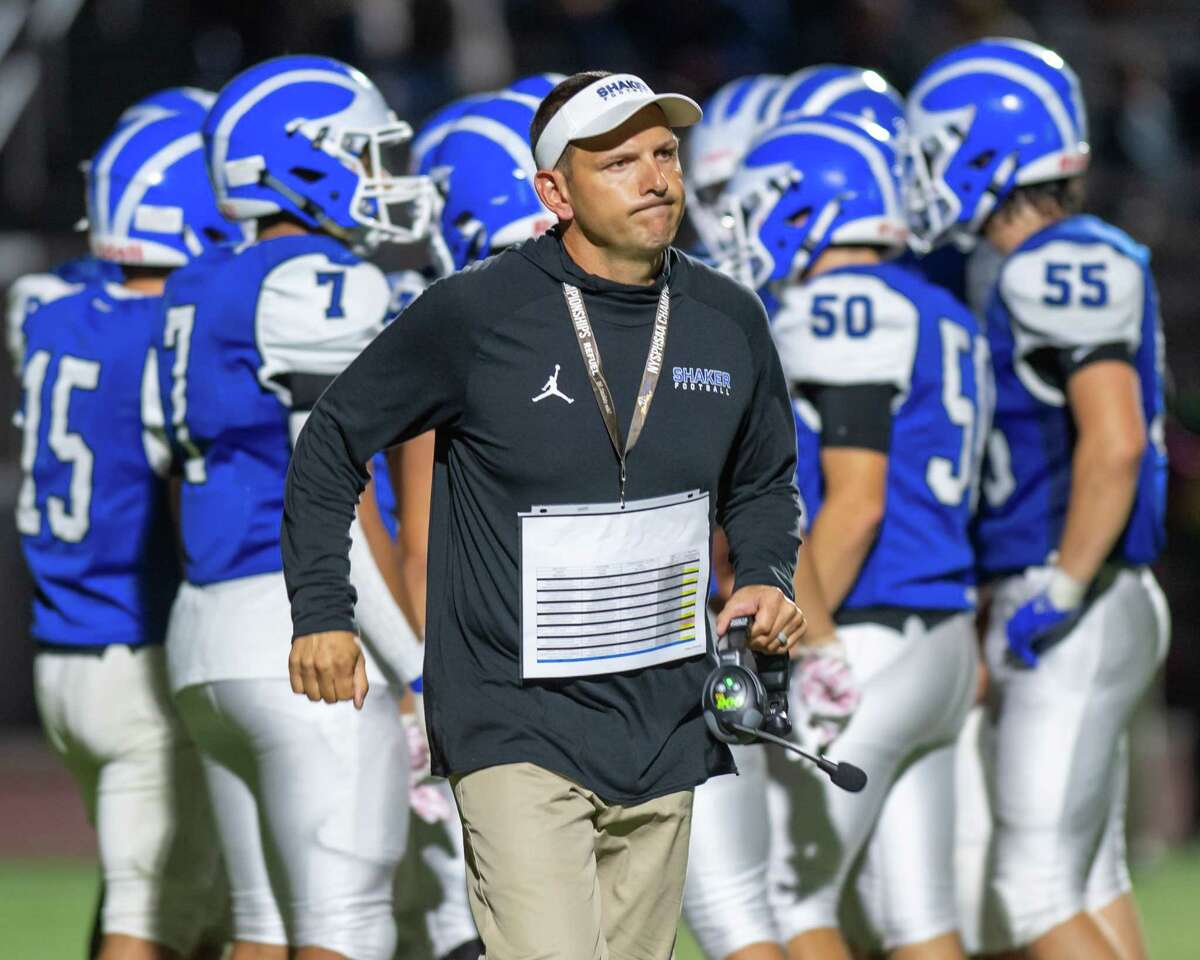 Football coach Greg Sheeler leads his unbeaten Shaker team against undefeated CBA on Friday.
