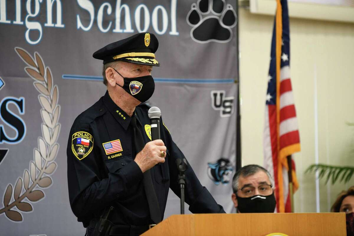 UISD Police Chief Ray Garner updates the media and the community on the ongoing investigation regarding a written shooting threat in a United South High School boys' bathroom.