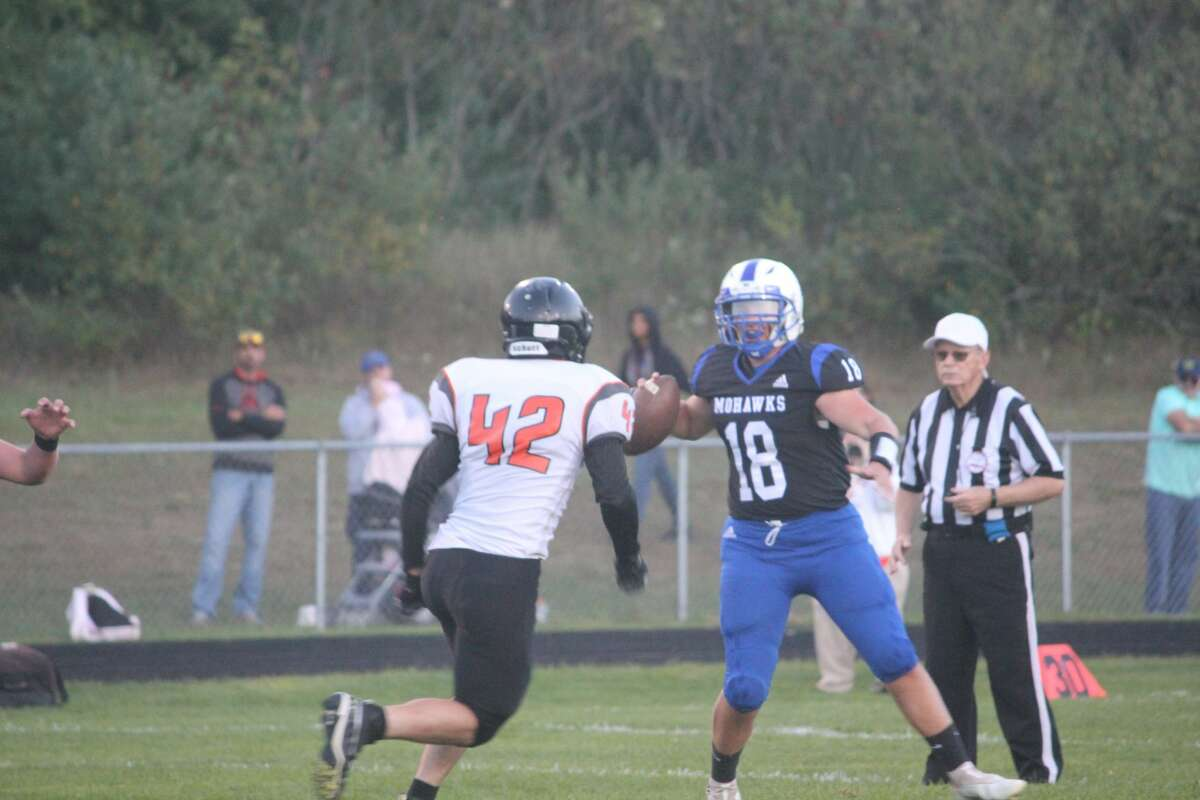 Morley Stanwood's football team trailed 10-0 after three quarters but rallied for 20 points in the fourth to defeat White Cloud 20-10 and take command of the CSAA Silver race