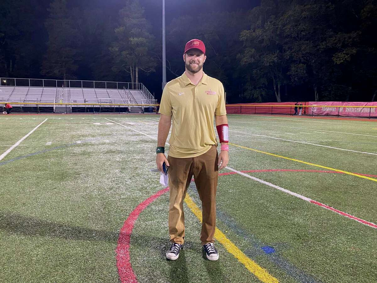 Stratford coach Nathan Tyler earned his first win as the Red Devils head coach Friday night. Stratford defeated Jonathan Law, 34-27, for the program's first win in over two years.