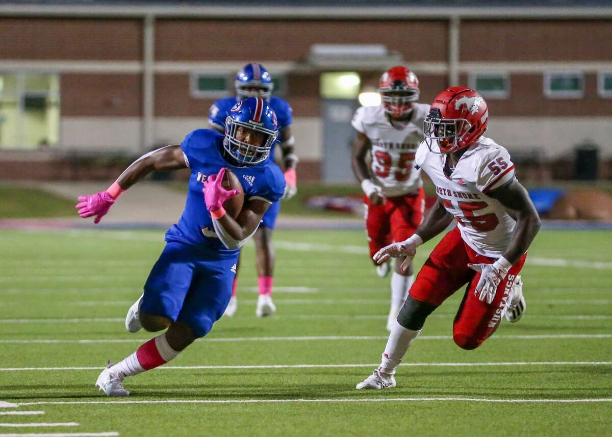 Westbrook running back Ryan Babino (3) finds a gap in the North Shore defense Friday night at Memorial stadium in Beaumont, TX. Photo taken September 24, 2021 by Jarrod Brown
