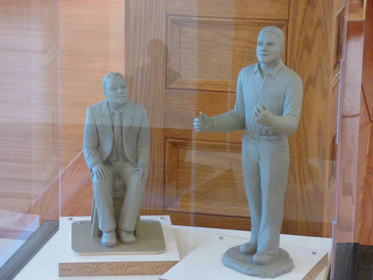 A production model by sculptorBernadette Zachara-Marcos on display at the Ramsdell Regional Center for the Arts provides a glimpse of a planned art installation featuring a young James Earl Jones with his mentor Donald Crouch. (Scott Fraley/News Advocate)