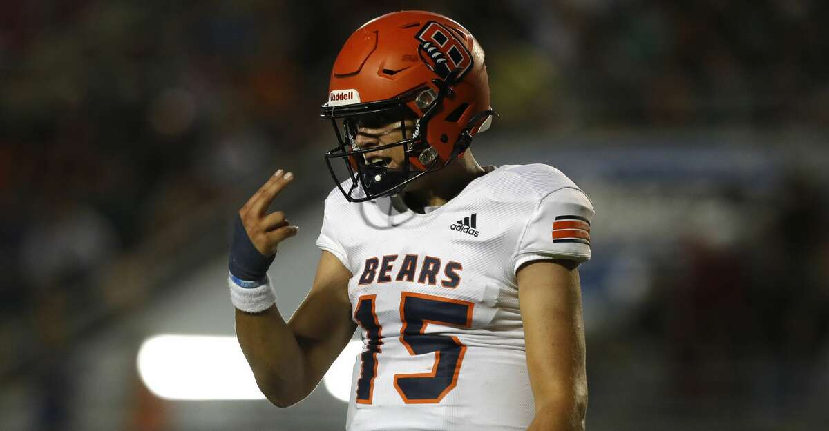 Bridgeland quarterback Conner Weigman (15) motions toward wide receiver Jonathan Nelson during the second quarter of a non-district high school football game at Woodforest Bank Stadium, Friday, Sept. 10, 2021, in Shenandoah.