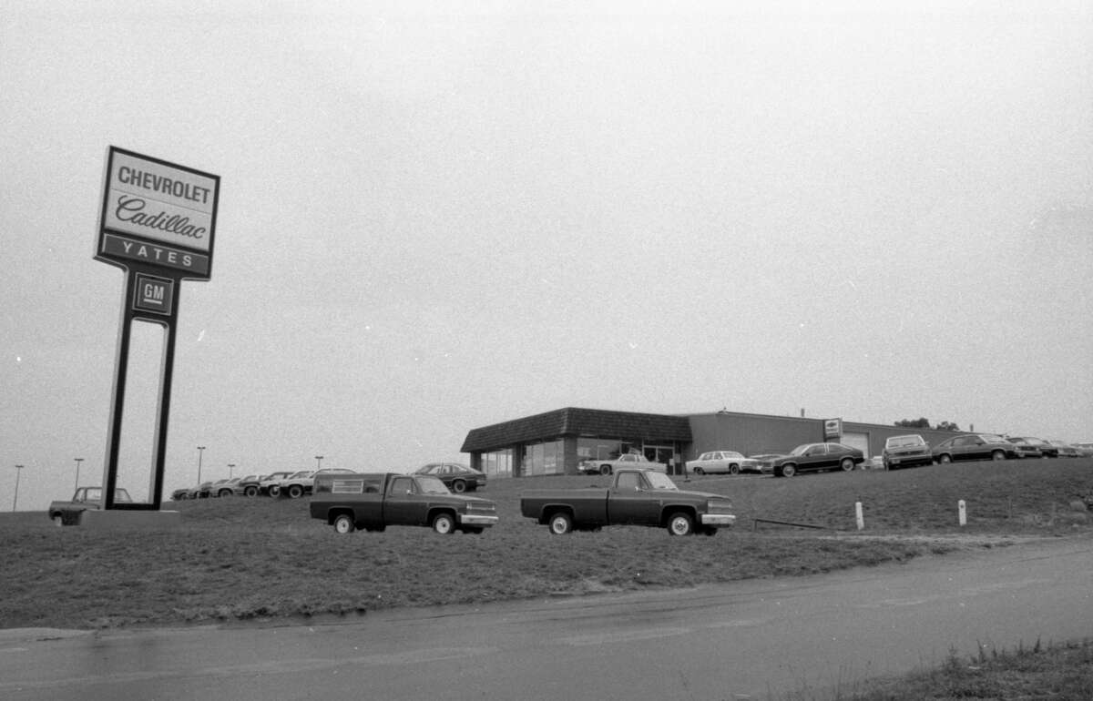 This photo shows a view of Yates Chevrolet in September 1981. (Manistee County Historical Museum photo)