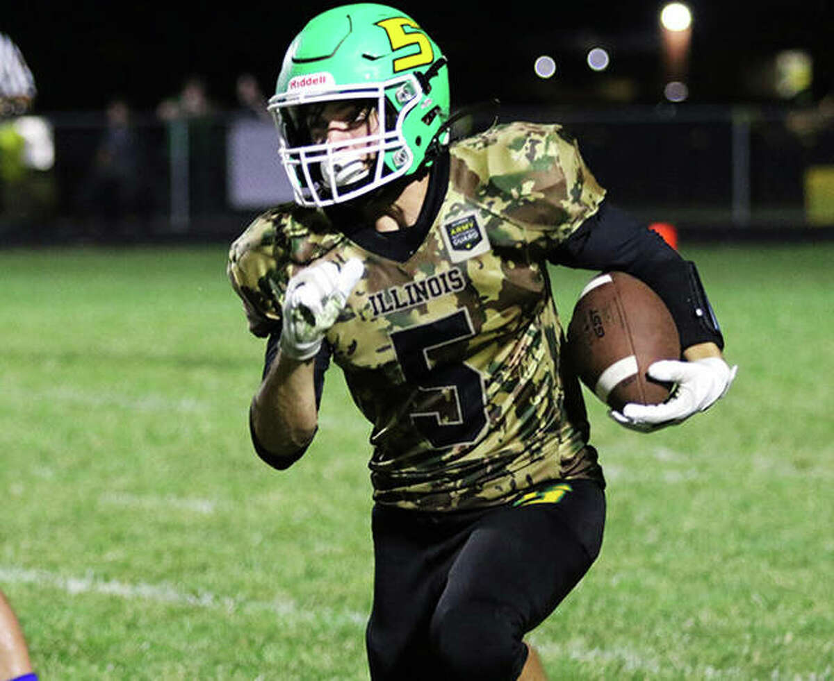 Southwestern's Gavin Day picks up a big gain in a win against Greenville in Week 4 at Piasa. Week 5 saw the Piasa Birds suffer their first defeat with a 41-0 loss Friday night at unbeaten Pana.