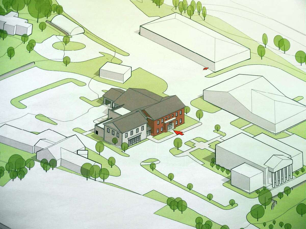 Initial renderings of the proposed new police building, originally presented in 2020.