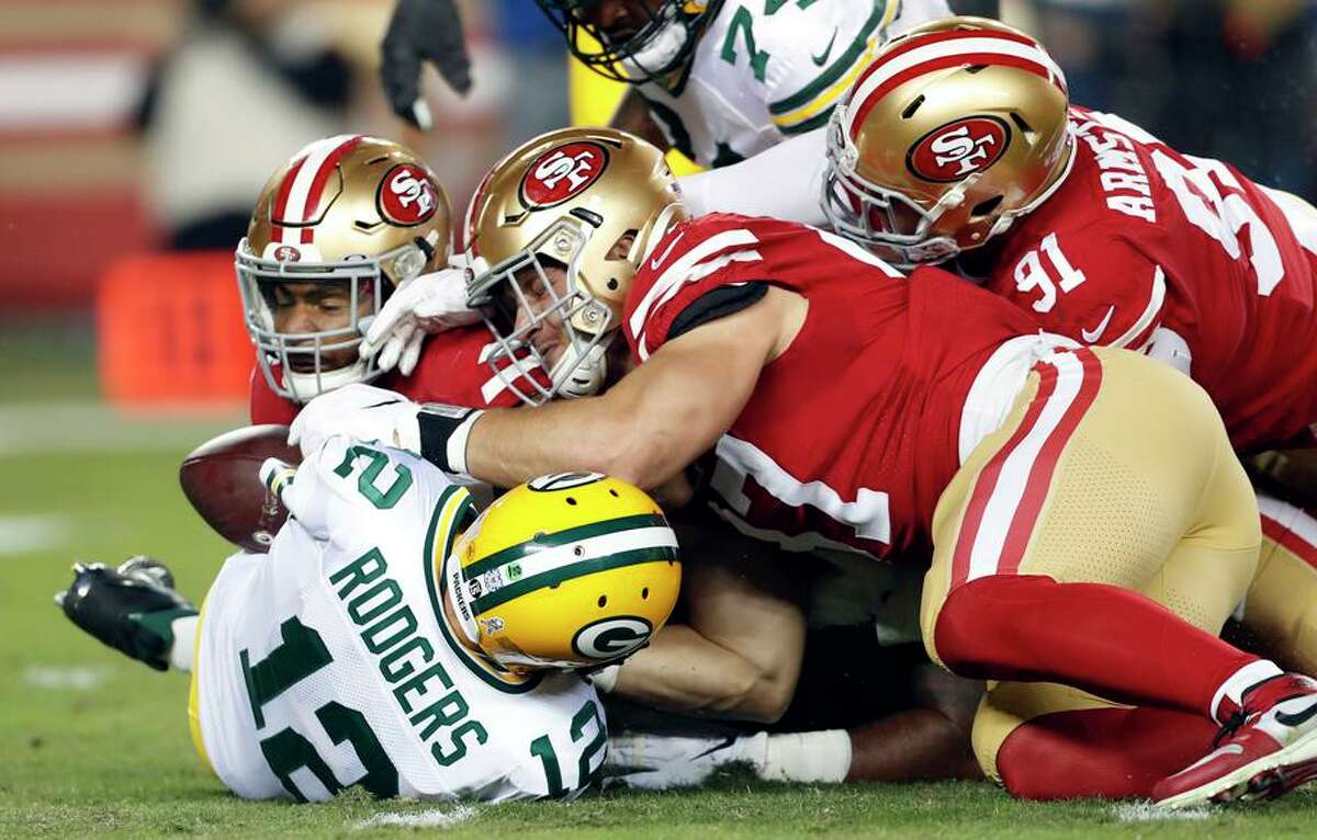 The 49ers' Nick Bosa, Fred Warner and Arik Armstead set the tone in a 37-8 win over the Packers and Aaron Rodgers in 2019.