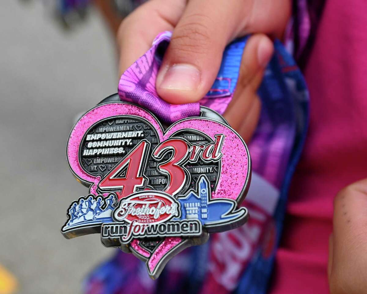 Medals handed out at the 43rd Freihofer's Run for Women in Albany on Saturday, Sept. 25, 2021. (Jim Franco / Special to the Times Union)
