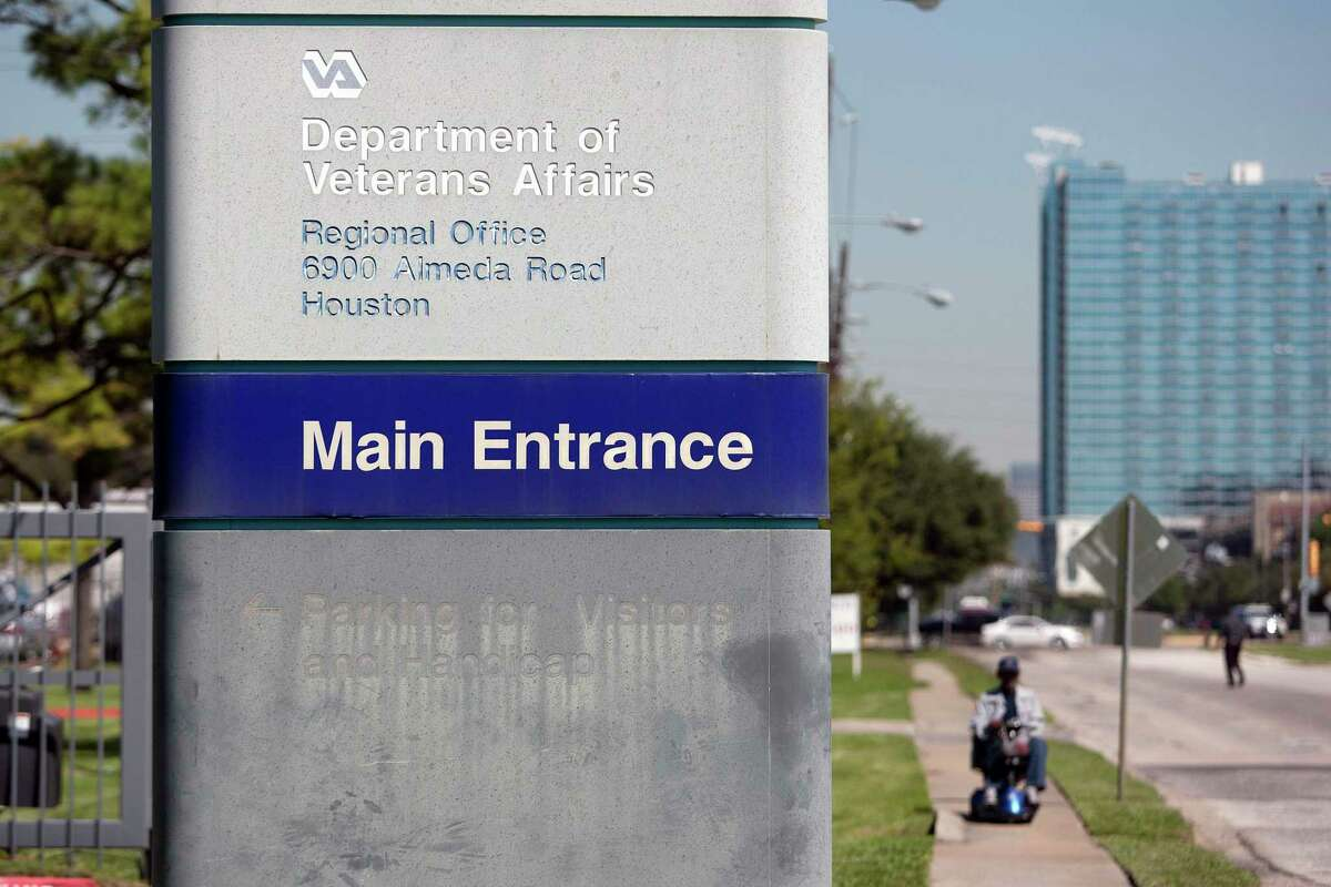 The Department of Veterans Affairs regional office in Houston is shown in this file photo. In September 2021, the office began recruiting workers to handle a surge of new claims brought on by a policy change that expands benefits for certain disability conditions.