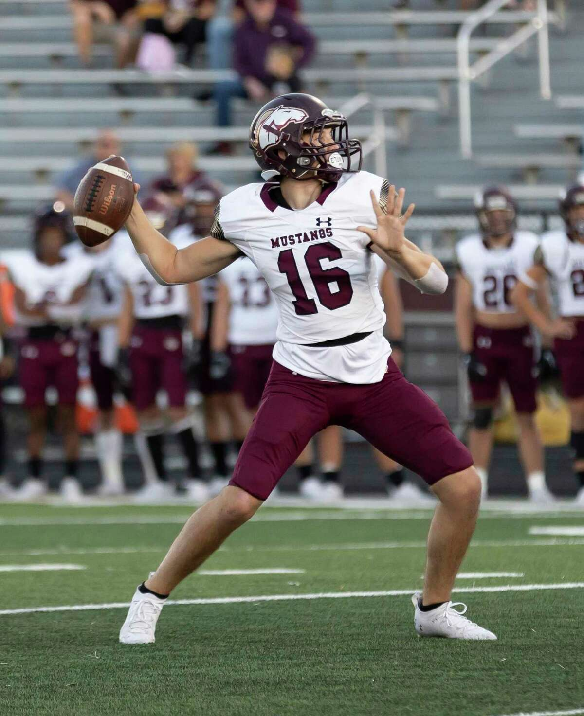 Magnolia West quarterback Ryan Ojeda (16) throws during the first quarter of a District 8-5A (Div. I) football game against Caney Creek at Buddy Moorhead Stadium, Friday, Sept. 24, 2021, in Conroe.