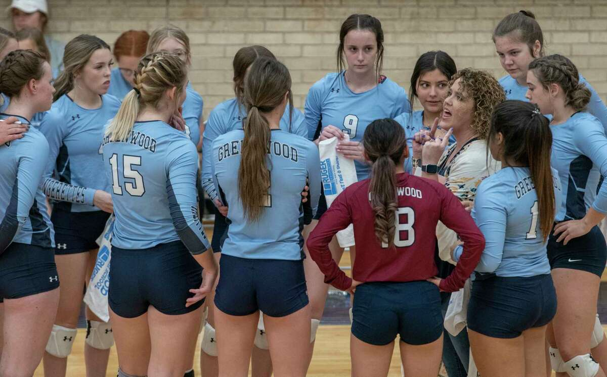 Greenwood coach Amy Long talks with her players during a timeout against Andrews 09/25/2021 at Greenwood High School gym. Tim Fischer/Reporter-Telegram