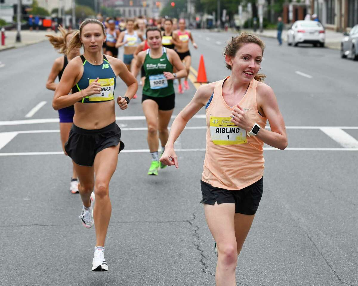 Aisling Cuffe (bib No. 1) led the 43rd Freihofer's Run for Women wire to wire and the 28-year-old Concord, Massachusetts resident handily won the 5K with a time of 16:34 on Saturday, Sept. 25, 2021. (Jim Franco/Special to the Times Union)