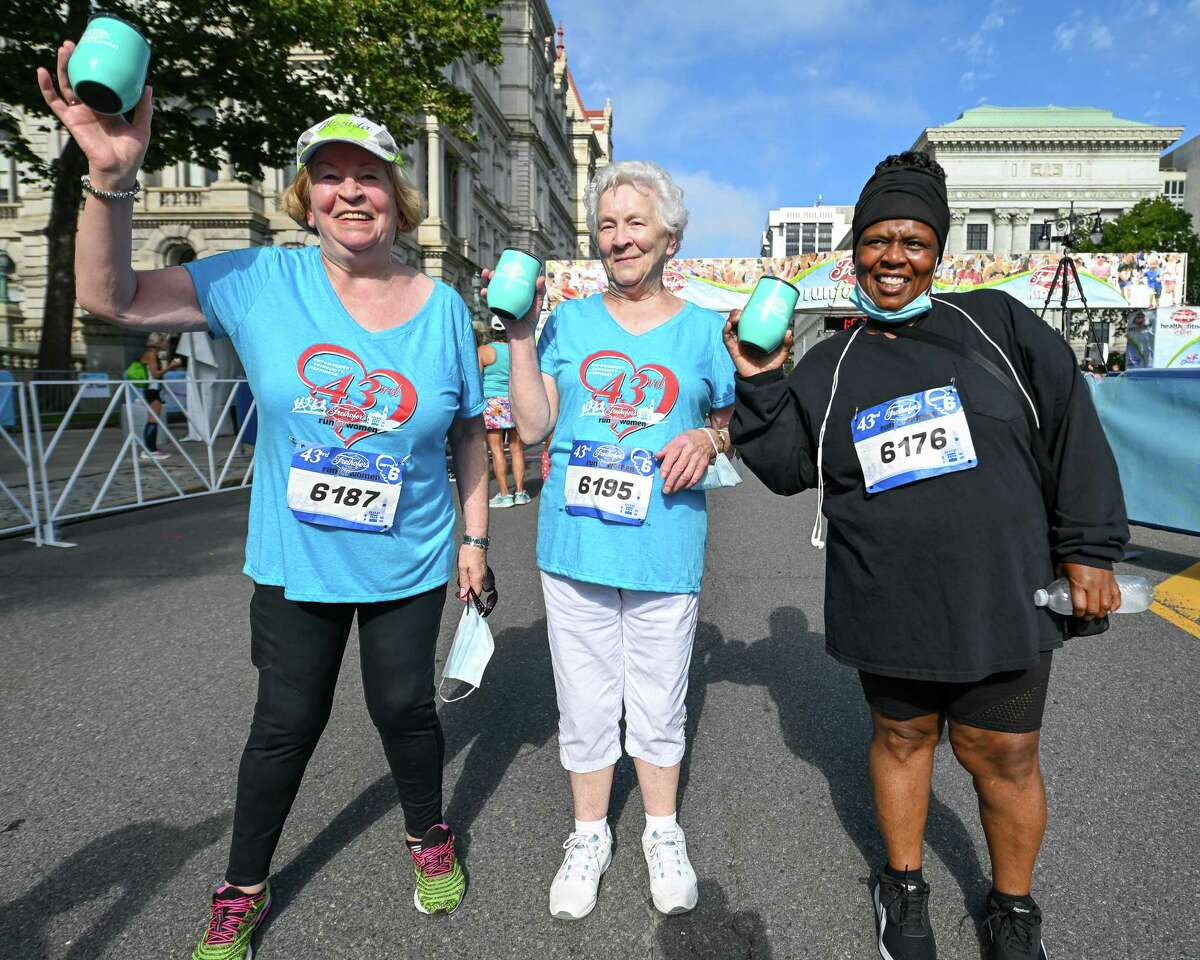 (from left) Margaret Shannon, 80, of South Carolina, her sister Nora Dietz, 86, of Yorktown Heights, and Charmell Dobbs, 52, of Albany, were the last three finishers of the 43rd Freihofer's Run for Women on Saturday, Sept. 25, 2021. (Jim Franco/Special to the Times Union)