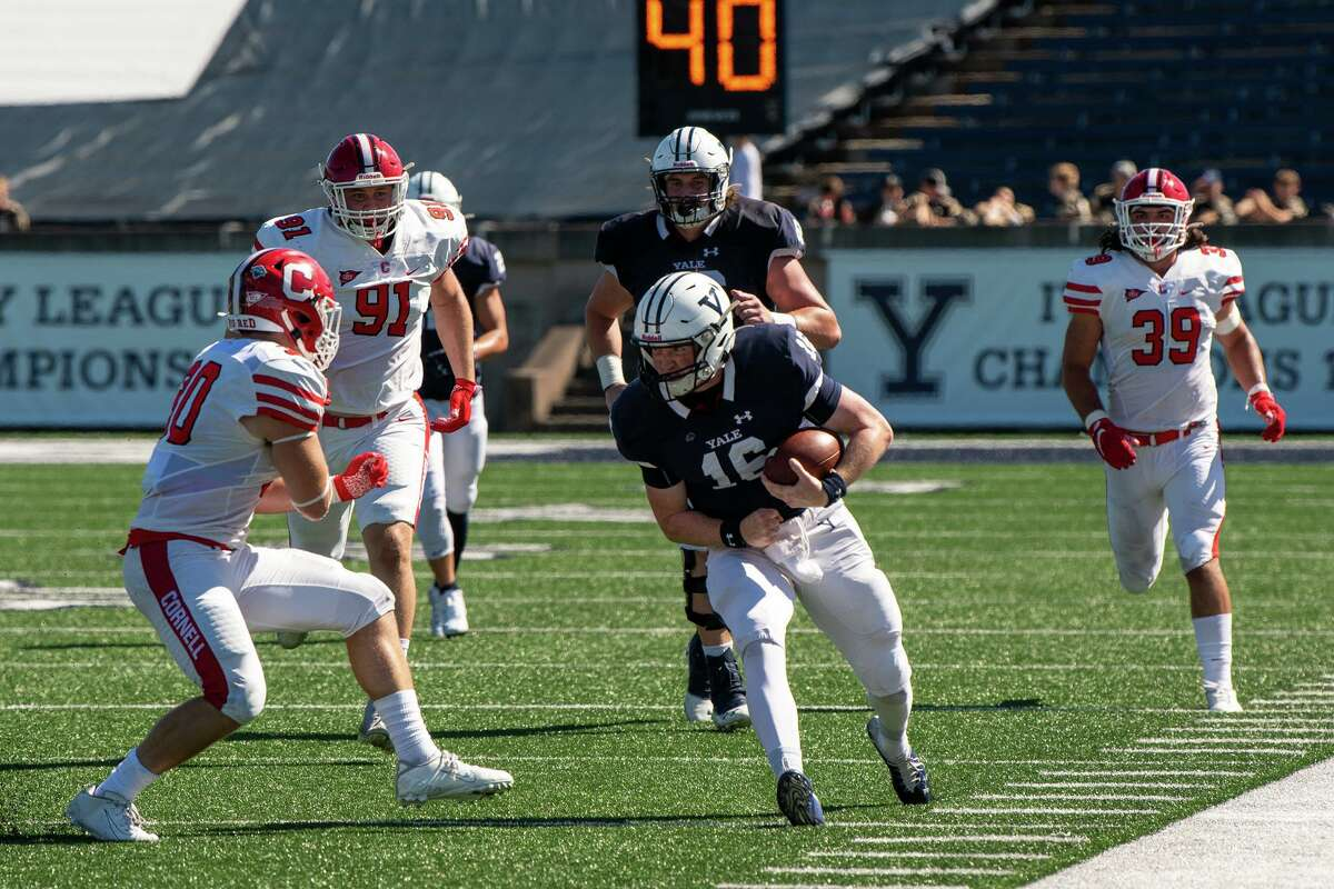 Yale quarterback Griffin O'Connor carries against Cornell at the Yale Bowl in New Haven on Saturday.
