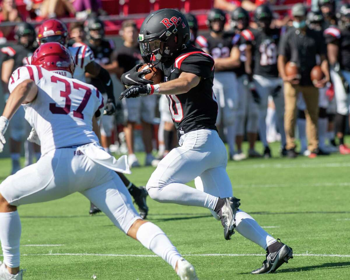 RPI receiver Riley Conboy picks up yardage after making a catch during a game against St. John Fisher at the East Campus Stadium on the RPI campus in Troy, NY, on Saturday, Sept. 25, 2021 (Jim Franco/Special to the Times Union)