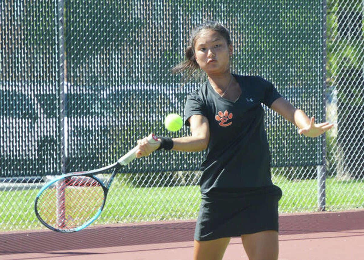 Edwardsville's Chloe Koons keeps her eyes on the ball during her No. 1 singles match on Saturday against Columbia Rock Bridge in the Southern Illinois Duals.