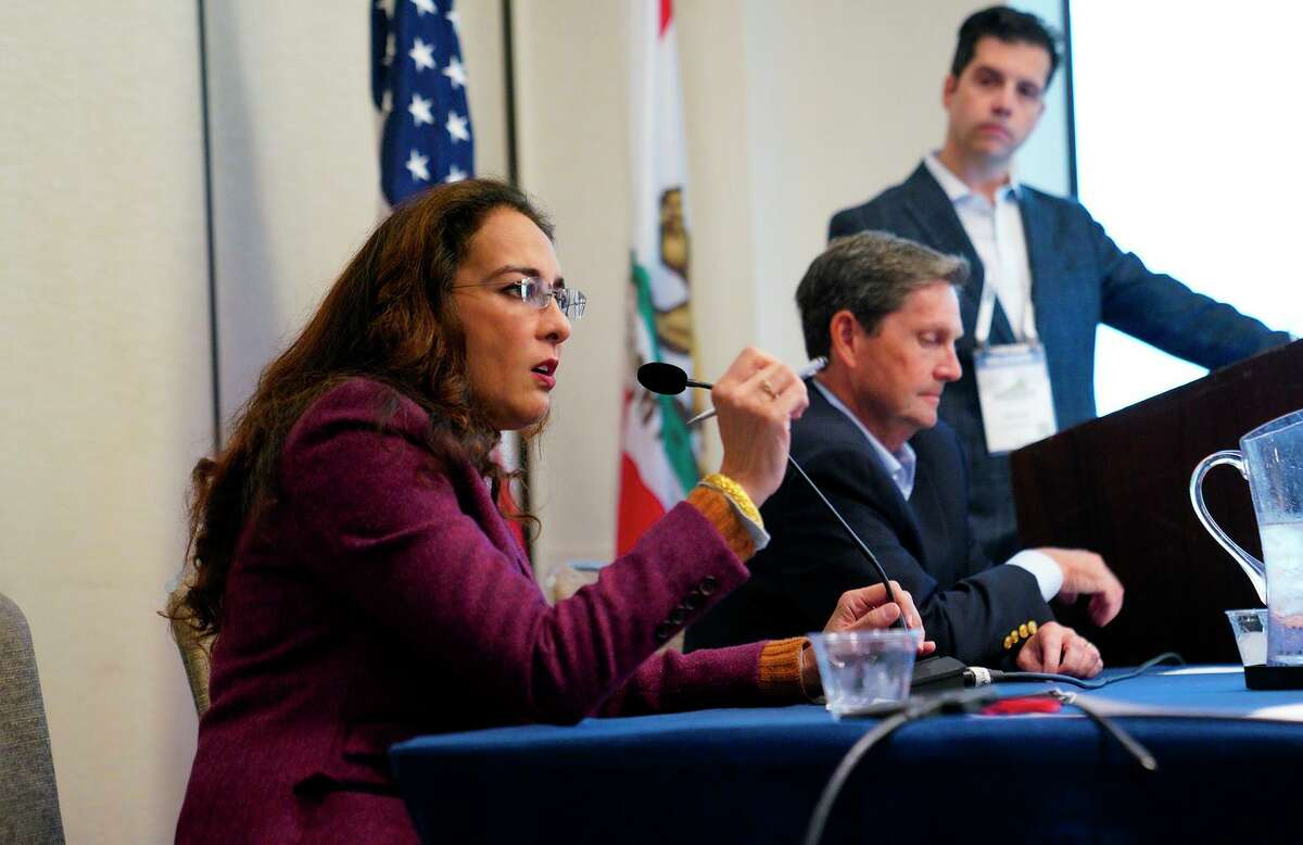 Harmeet Dhillon answers audience questions from attendees during the panel discussion on election integrity at the California Republicans Convention in San Diego.