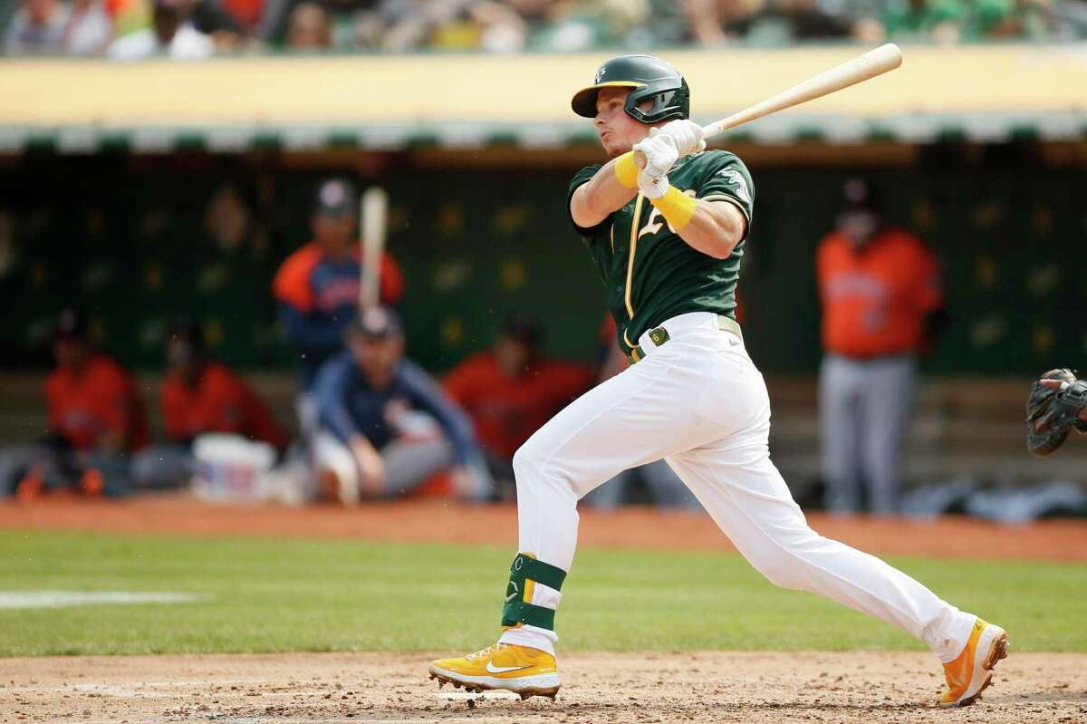 Oakland Athletics third baseman Matt Chapman (26) grounds out in the fourth inning during an MLB game against the Houston Astros at RingCentral Coliseum on Saturday, Sept. 25, 2021, in Oakland, Calif.