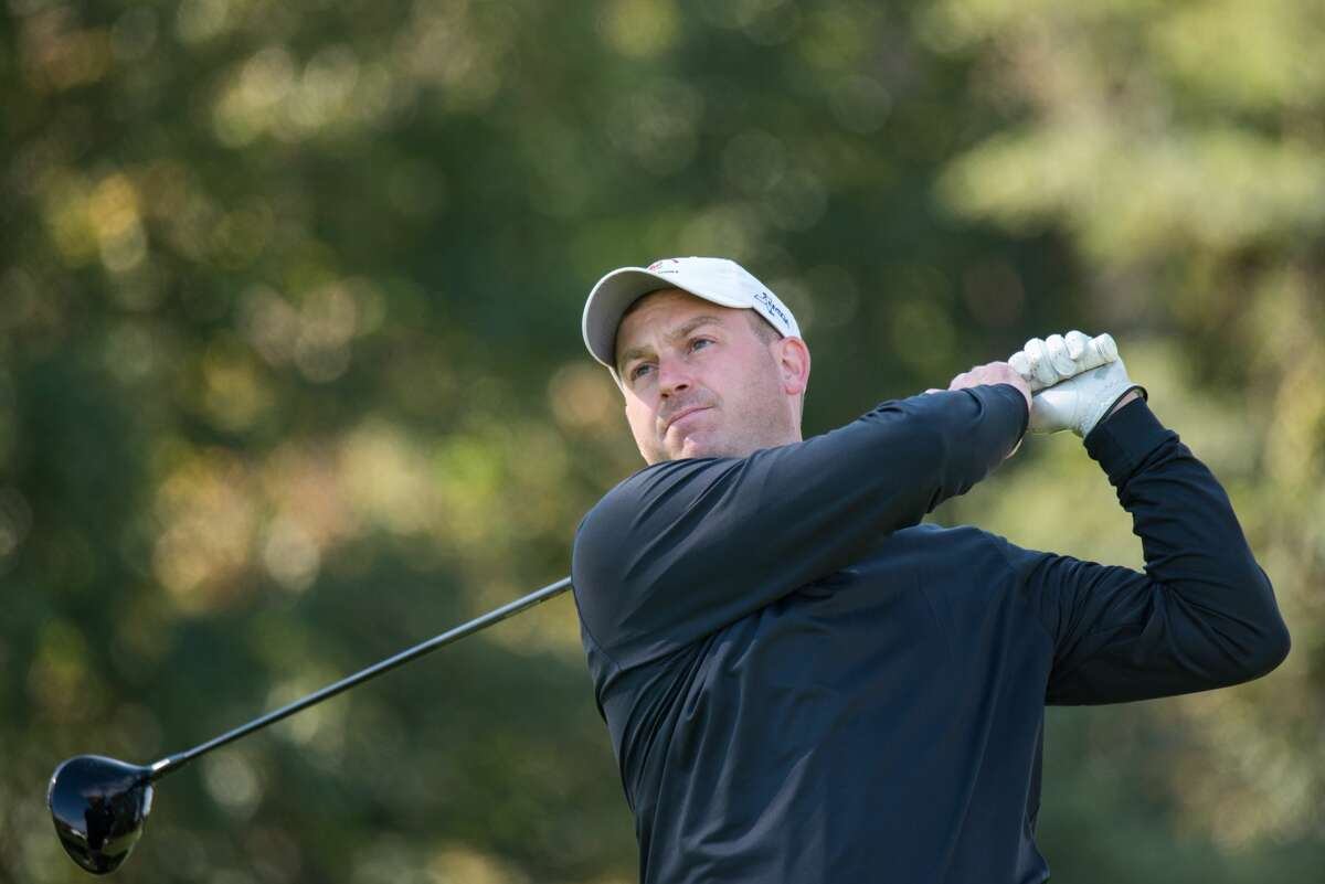 Jim Gifford of Mohawk Golf Club tees off during Round 2 of the 2021 NYS Men's Mid-Amateur Championship at Shaker Ridge Country Club in Albany, N.Y. on September 25, 2021.