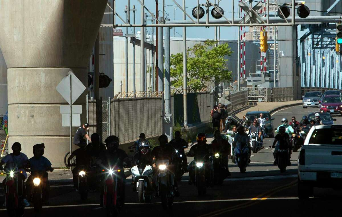 Bikers arrive to take part in EastCoastin' 2021 in New Haven, Conn., on Saturday September 25, 2021. Thousands of motorcyclists are expected to attend, even after the city refused to give a permit to the organizers.