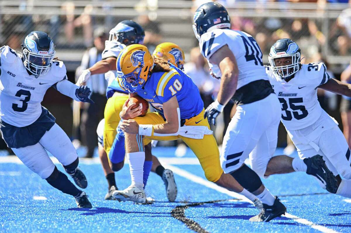 New Haven quarterback Connor Degenhardt (10) runs against Southern Connecticut during a college football game on Saturday, September 25, 2021.