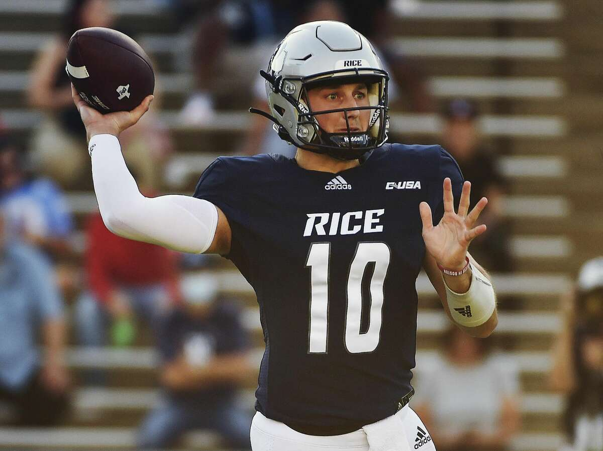 Rice quarterback Jake Constantine throws a pass during the first half of an NCAA college football game against Texas Southern, Saturday, Sept. 25, 2021, in Houston.