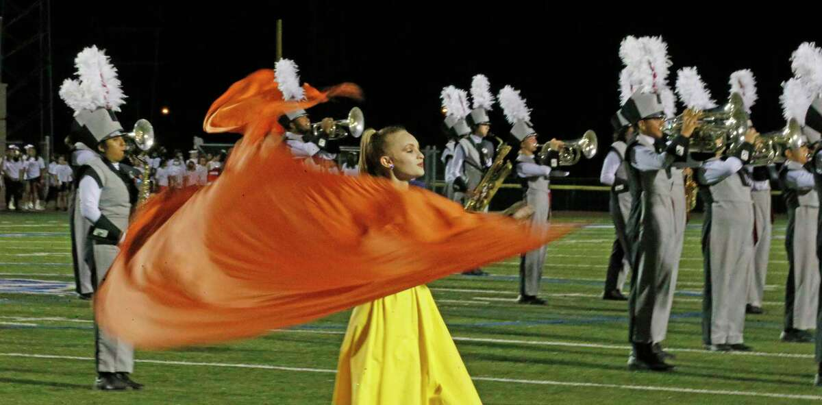 Lee band and dancers perform at halftime on Saturday, Sept. 25, 2021. Halftime score Reagan 35 Lee 0