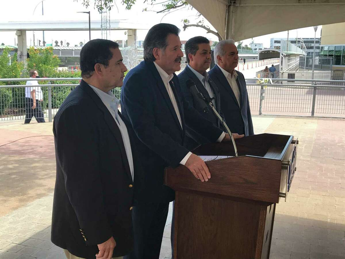 """""""I talked to the federal government already to make sure that we have everybody on together, so I feel very, very good,"""" Rep. Cuellar (left) said. """"There will still be a lot of more work to do, but I think today was a very important day."""""""